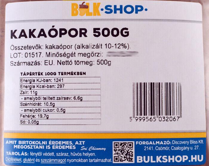 kakaópor 500g alkalizált bulkshop